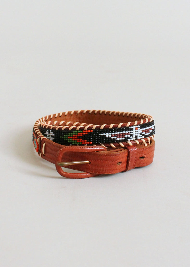 Vintage Native American Beaded Leather Belt