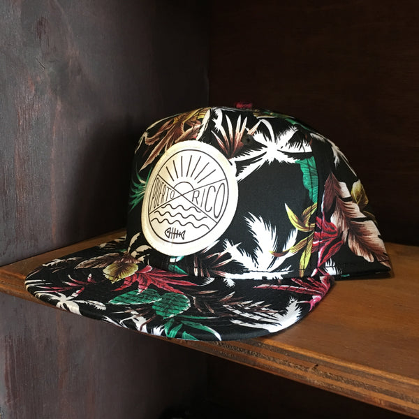 Floral Puerto Rico Circle Patch Hat