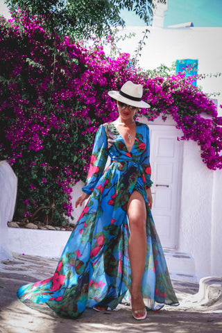 Summer Breeze Floral Wrap Maxi Dress