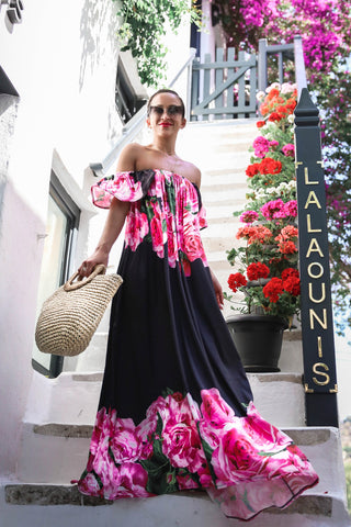 * MADE TO ORDER: Meet Me in Mykonos Off the Shoulder Floral Maxi Dress