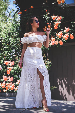 Eyelet Summer Off The Shoulder Top and Maxi Skirt Set