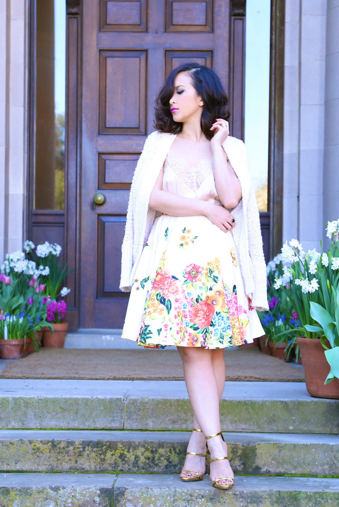 Forget-Me-Not Floral Skirt in Cream
