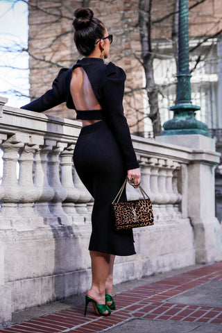 Back At It Open Back Knit Top and Skirt Set in Black