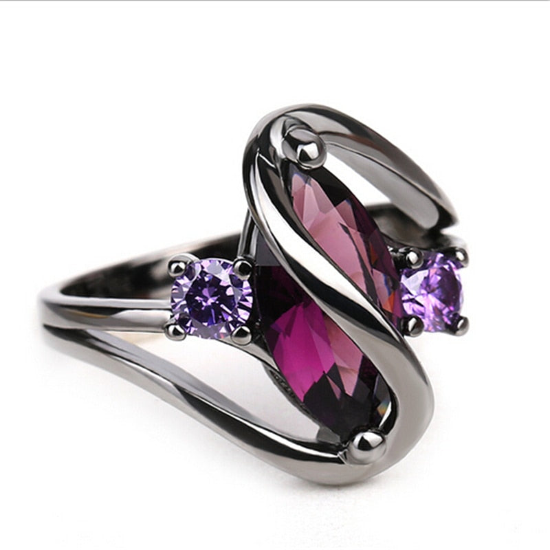 Luxury Vintage Purple Crystal Rings