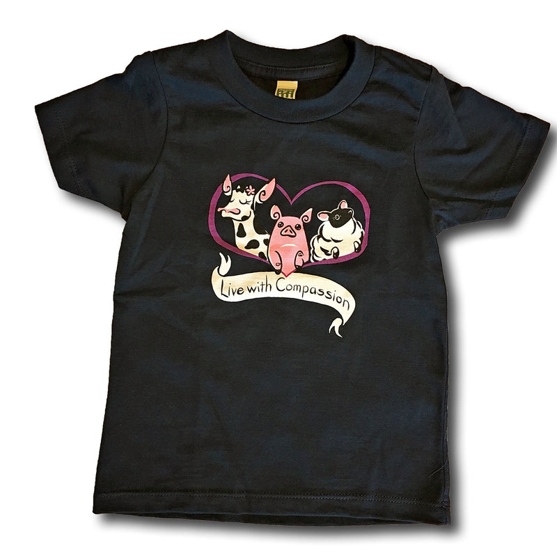 Live with Compassion Kids, T-Shirt, Grape Cat - Vegan Grape Cat