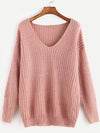 Pink Ribbed Knit V Neck Drop Shoulder Sweater