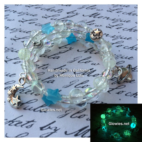 Starry Crescent Moon Galaxy Glass Bracelet