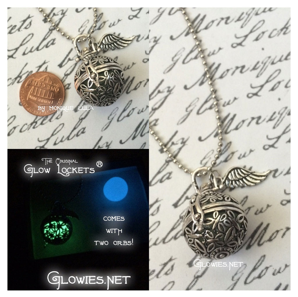 Glowing Butterfly Orb Glow Locket ® with Two Orbs