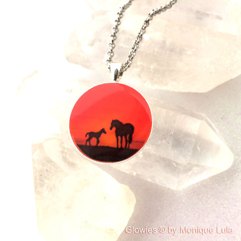 Sunset Horses Glow Art Necklace