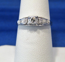 Load image into Gallery viewer, VINTAGE PLATINUM DIAMOND SOLITAIRE RING WITH OLD EUROPEAN CUT CENTER!