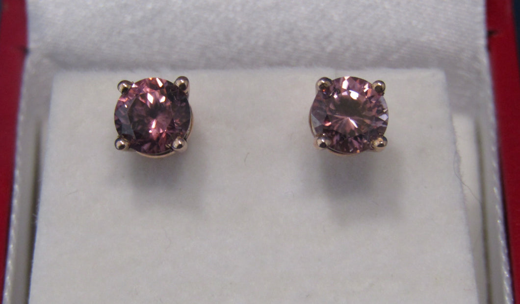 14KT ROSE GOLD BRONZE/RED ZIRCON STUD EARRINGS...RARE FUN!