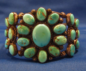 "WIDE VINTAGE NAVAJO TURQUOISE BRACELET...OVER 1.5"" WIDE!"