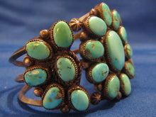 "Load image into Gallery viewer, WIDE VINTAGE NAVAJO TURQUOISE BRACELET...OVER 1.5"" WIDE!"