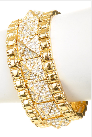 Pyramid Crystal Bracelet with Gold Border - My Jewel Candy - 1