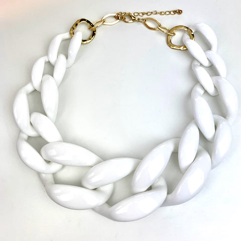Linked-In Necklace (White)
