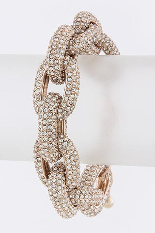 The Princess Kate Chunky Crystal Encrusted Chain Bracelet - Rose Gold - My Jewel Candy - 1