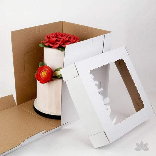 "Transport your two tiered or 3D cakes safely with a Tall 12"" Window Cake Box"