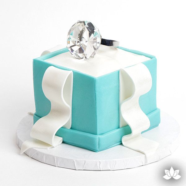 Medium Diamond Ring Cake Topper perfect for wedding and engagement cakes.