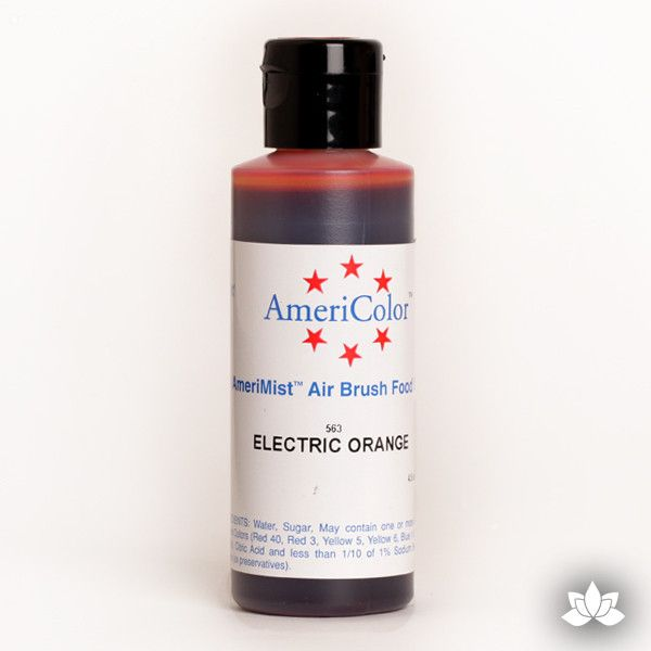 Electric Orange AmeriMist Air Brush Color 4.5 oz is a highly concentrated air brush color perfect for coloring non-dairy whipped icing, toppings, rolled fondant, gum paste flowers, and buttercream. Wholesale edible air brush color.