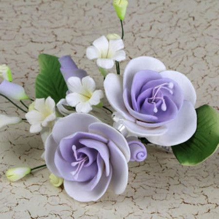Lavender Gumpaste Dog Rose Spray Cake Decoration perfect for cake decorating rolled fondant wedding cakes, buttercream birthday cakes, & cupcakes.  Wholesale cake decorations & cake decorating supply. Small Dog Rose Sprays - Lavender Purple