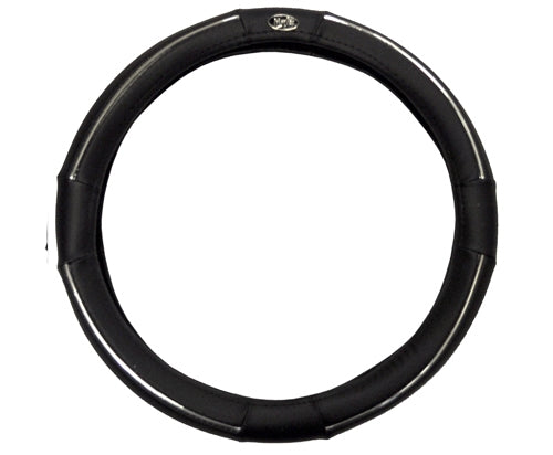 Madjax Black and Chrome Steering Wheel Cover