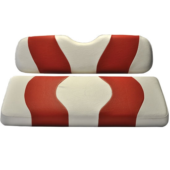 Madjax Wave White/Red Two-Tone Club Car DS Front Seat Covers (Fits 2000-Up)