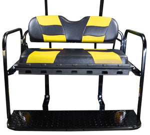 Madjax Genesis 150 Black/Yellow Riptide Rear Seat Kit - Fits EZGO TXT (Years 1994.5-Up)