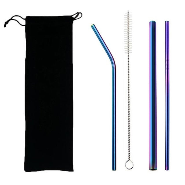 5pcs Eco Friendly Reusable Stainless Steel Drinking Straws Set with Brush & Bag