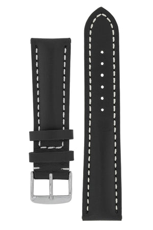 Breitling-Style Calf Leather Watch Strap and Buckle in BLACK