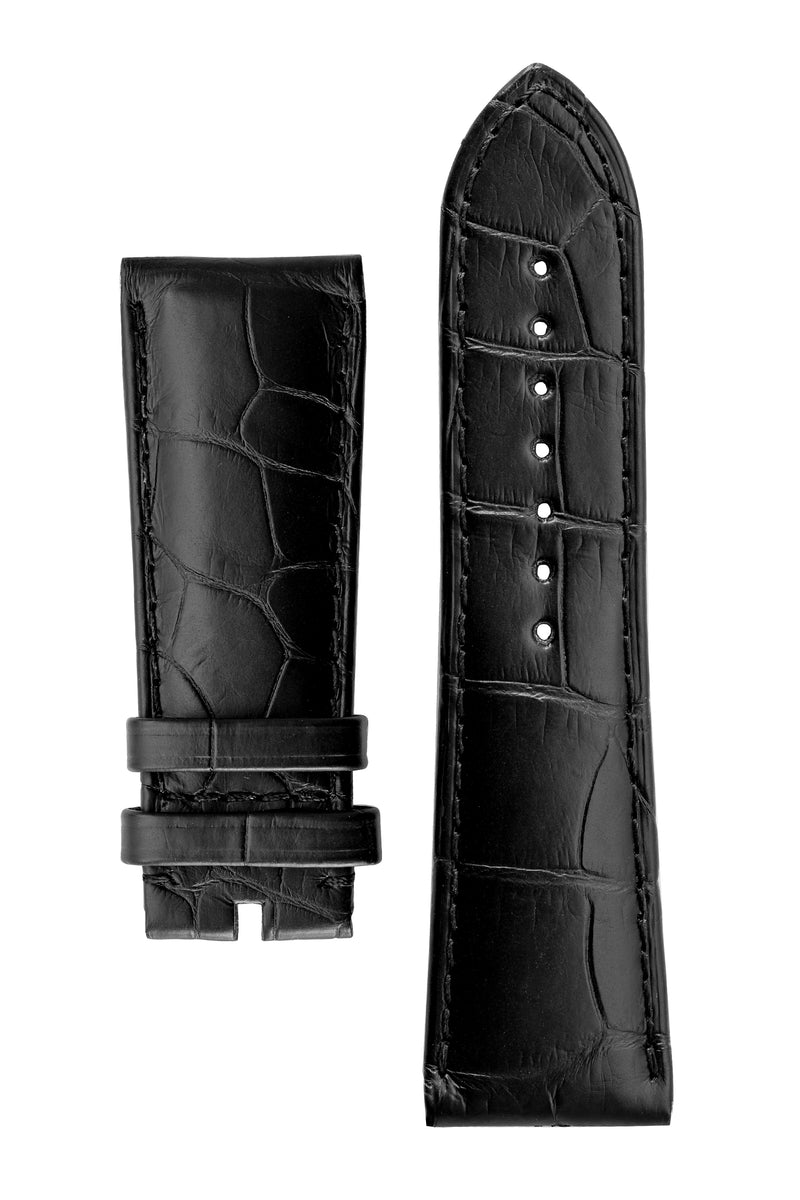 OMEGA 98000265 Genuine Alligator 24mm Short Watch Strap - BLACK