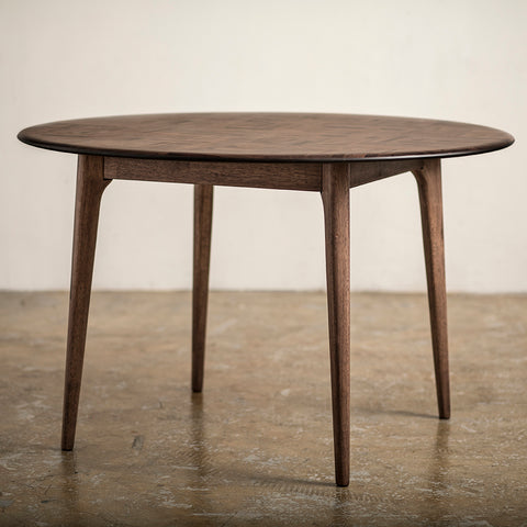 Checker Round Dining Table Mixed Wood