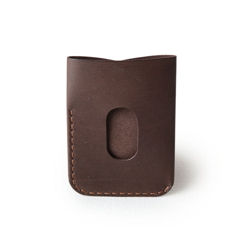 kangaroo leather card holder - vintage chocolate