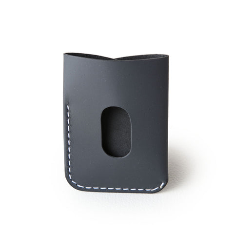kangaroo leather card holder - graphite grey