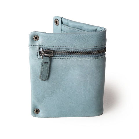 zip detail wallet- small- duck egg blue