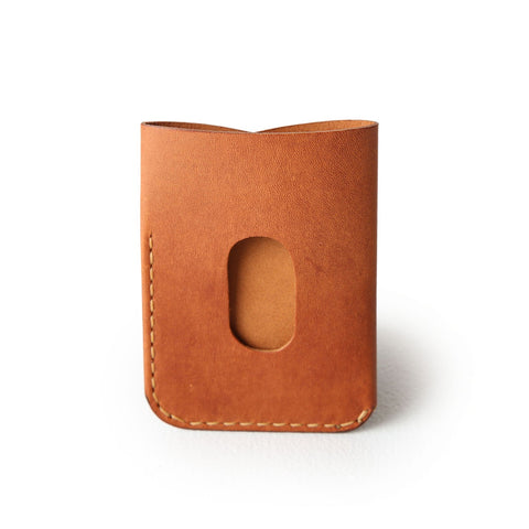 kangaroo leather card holder - vintage tan