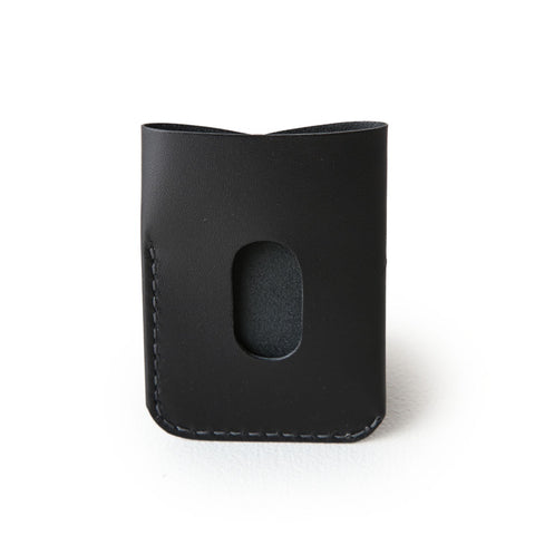 kangaroo leather card holder - black