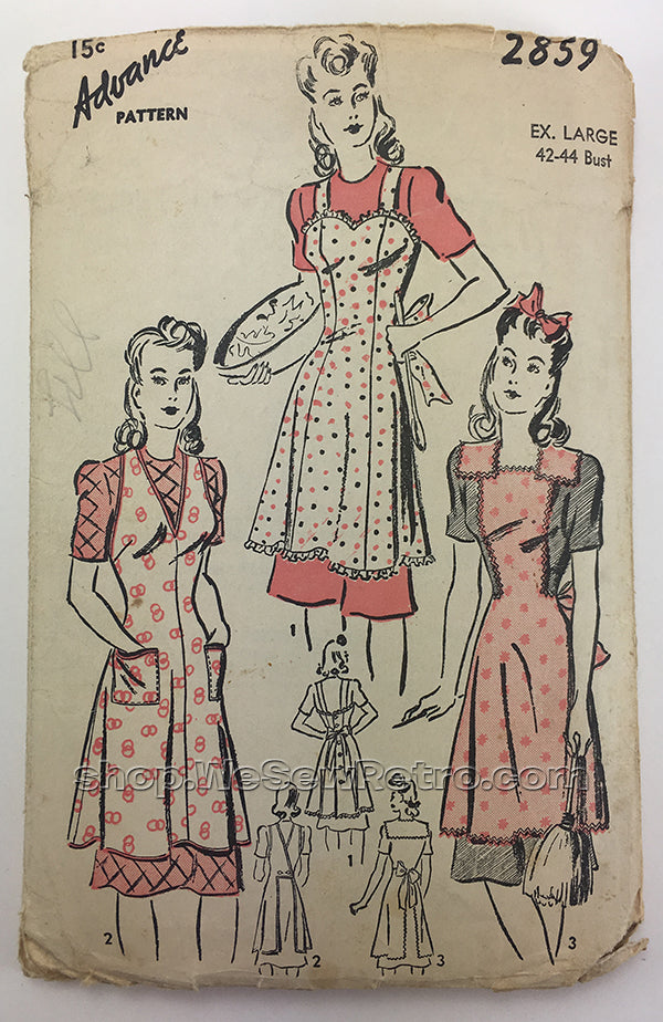 Advance 2859 1940s Apron Sewing Pattern - XL - 42 to 44 inch bust