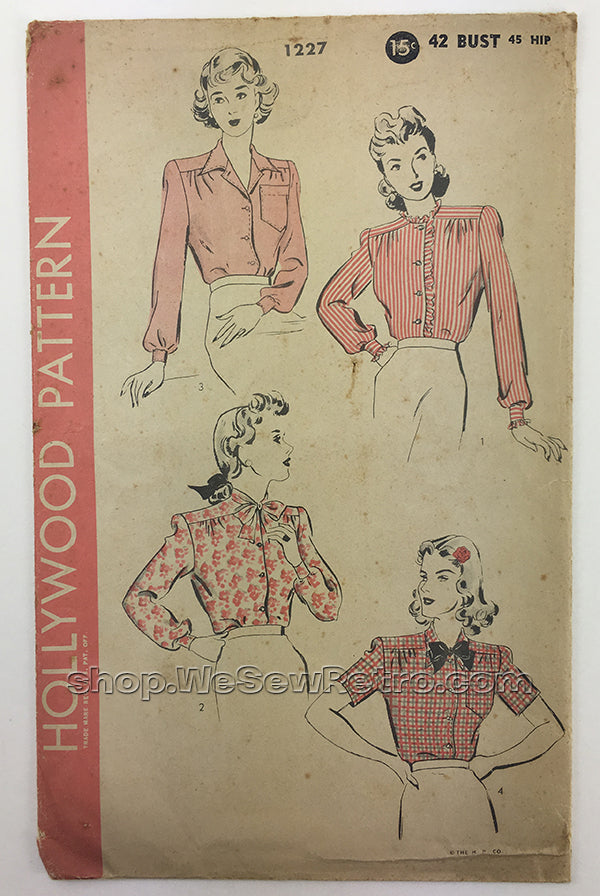 Hollywood 1227 1940s Blouse Sewing Pattern  - 42 Bust