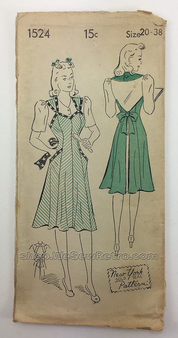 New York 1524 1940s Apron Sewing Pattern