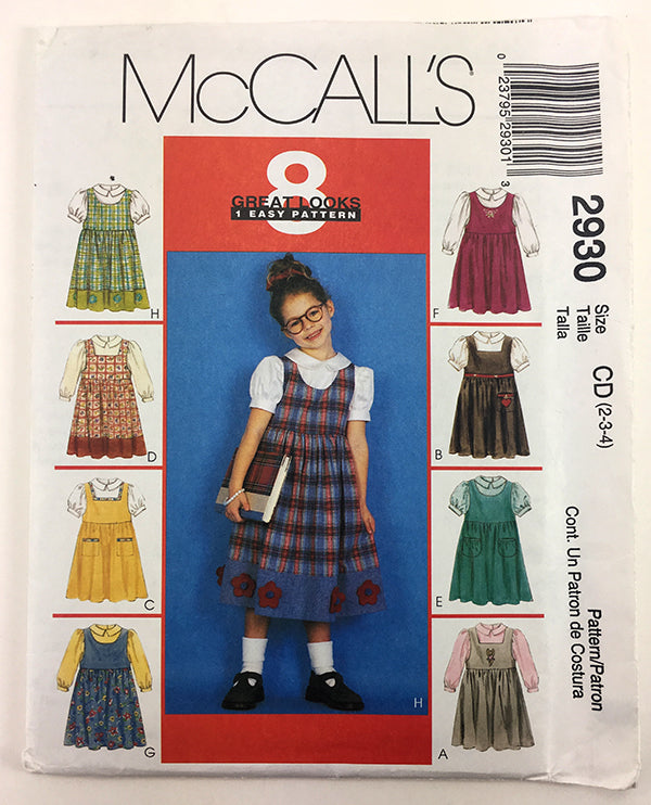 McCalls 2930 Girls Jumper and Blouse Sewing Pattern