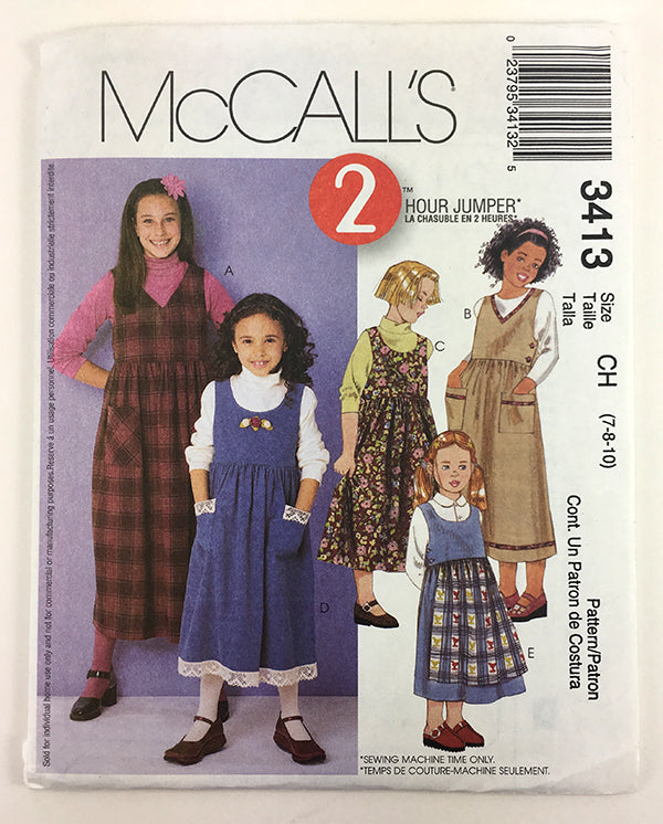 McCalls 3413 Girls Jumper Sewing Pattern