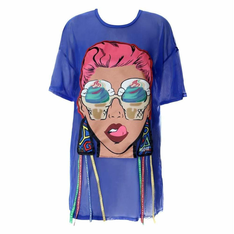 Plus Size Mesh T Shirt Dress with Graphic Patch Embellishment, Blue
