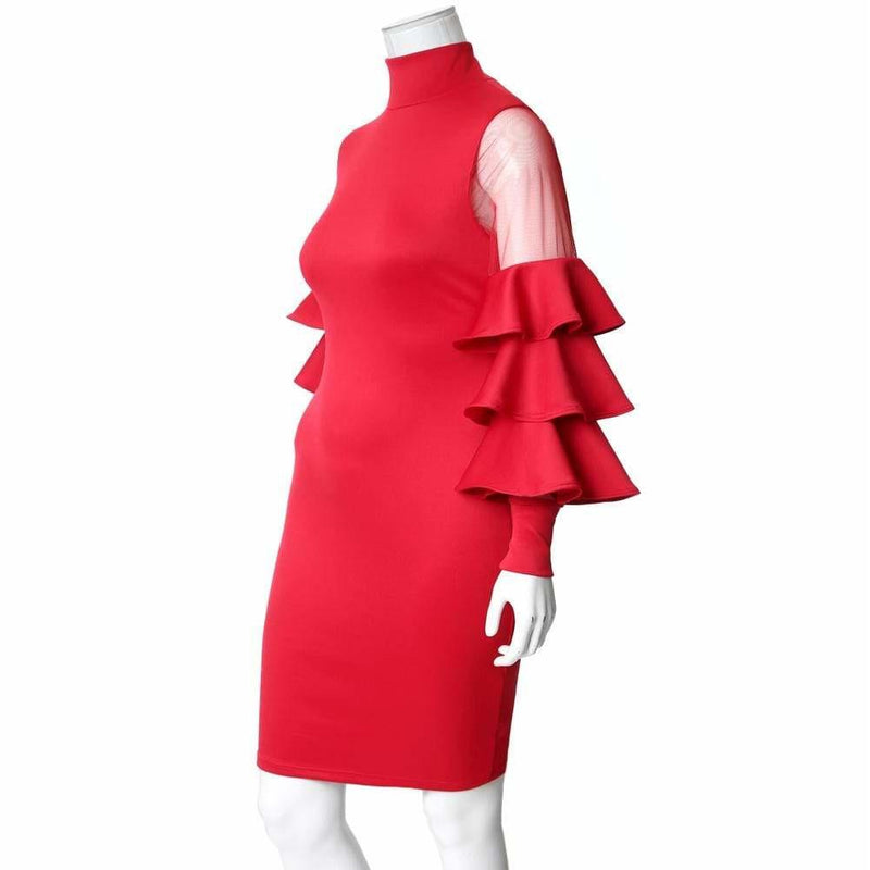 Plus Size Tiered Bell Sleeve Midi Dress, Red