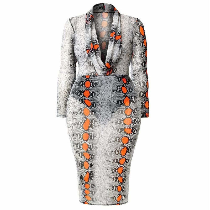 Plus Size Cowl Neck Mesh Dress, Orange Snakeskin Print