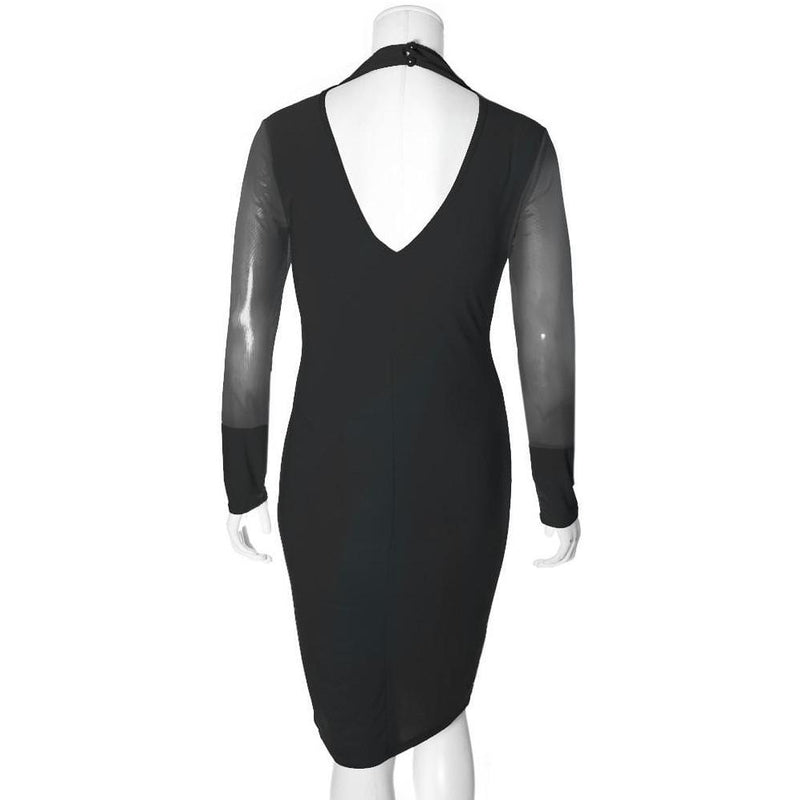 Posh Shoppe: Plus Size Choker Neck Dress with Sheer Sleeves, Black Dress