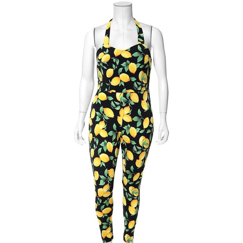 Posh Shoppe: Plus Size Sweet Heart Halter Jumpsuit, Lemon Print Bottoms