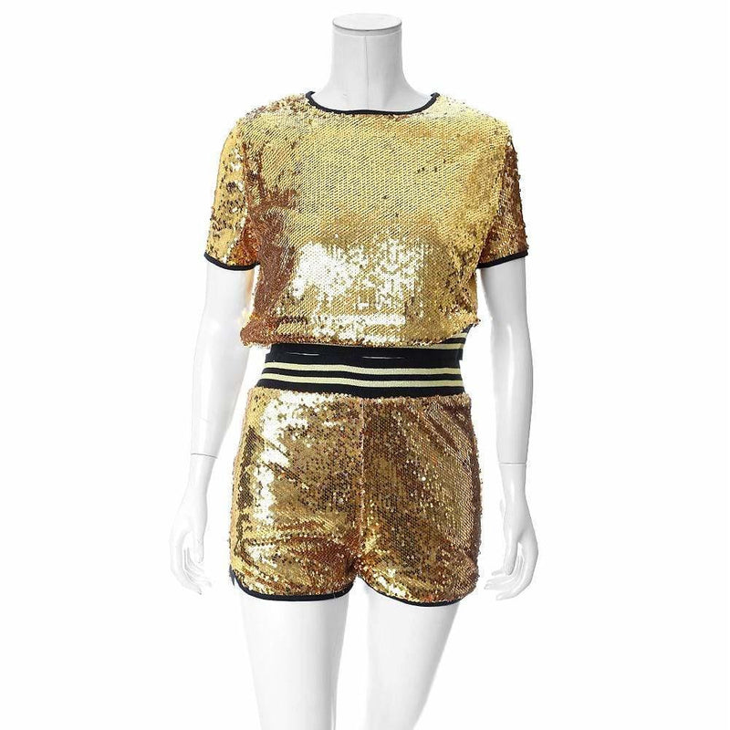 Plus Size Sequins Tee and Track Shorts Set, Gold