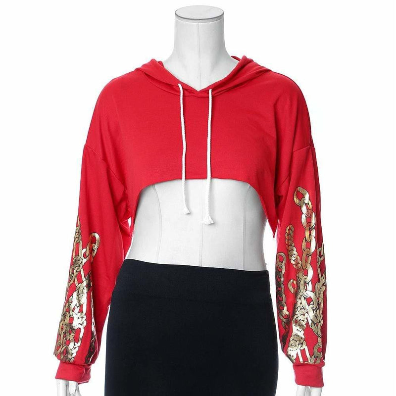Posh Shoppe: Plus Size Chain Print Ultra Crop Top, Red Tops