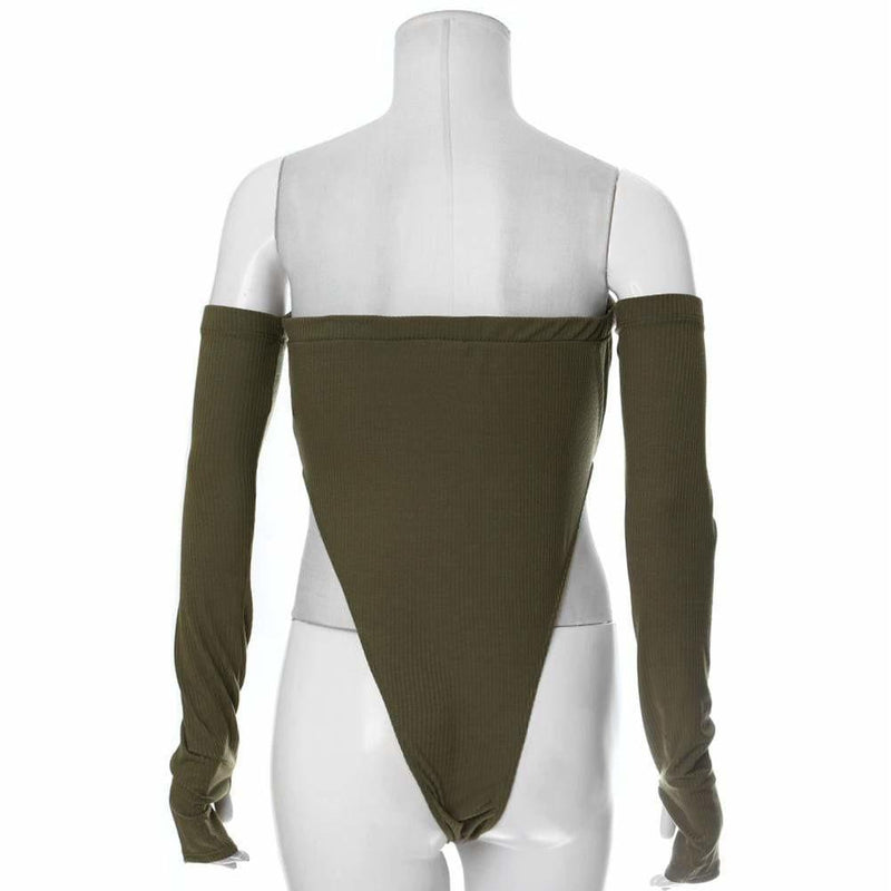 Plus Size Ribbed High Cut Bodysuit, Olive