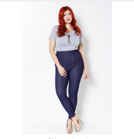 Blush Crush High Stretch Faux Denim Plus Size Leggings